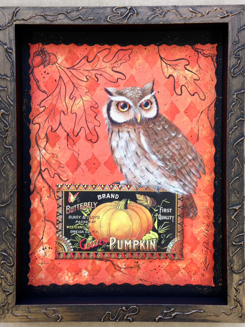 Owl and Oak Pattern Packet by Laure Paillex ©2016 painting in acrylic
