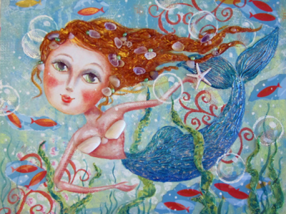 Syrenka - Acrylic Mixed Media Mermaid by Laure Paillex