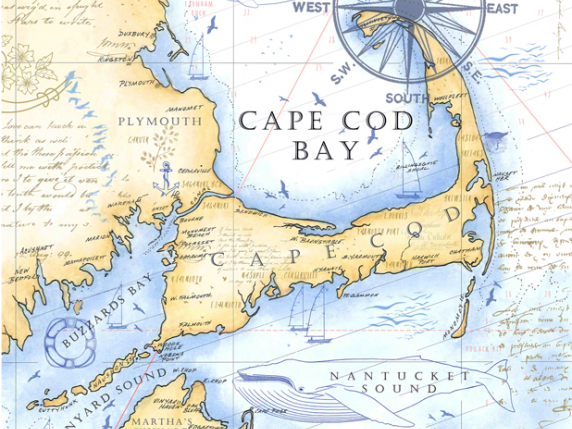 Hand painted map of Cape Cod ©2017 by Laure Paillex Digital Print