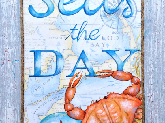 Seas the Day - Hand painted mixed media sign by Laure Paillex ©2017