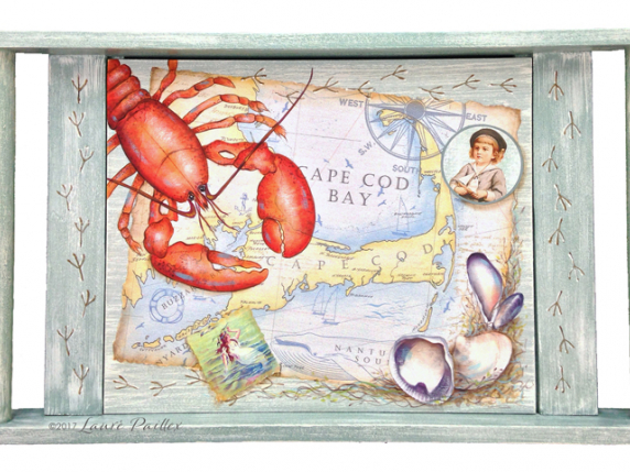 Lobster Dinner - Hand painted mixed media tray by Laure Paillex ©2017