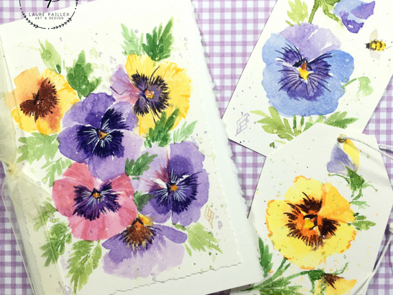 Painted pansies in watercolor card and tags by Laure Paillex
