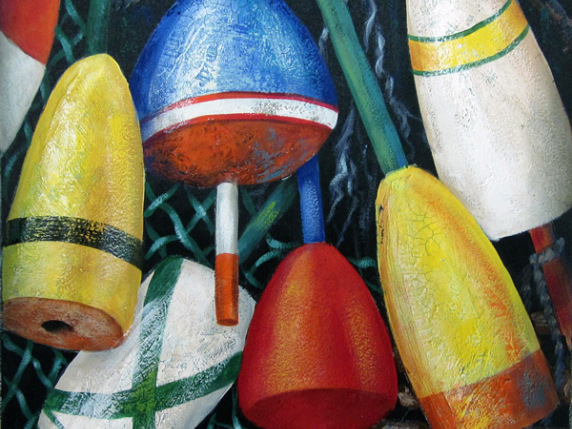 Good Old Buoys - acrylic painting of pot buoys in driftwood frame