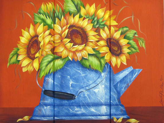Sunflowers in a Blue Kettle - Pattern Packet by Laure Paillex