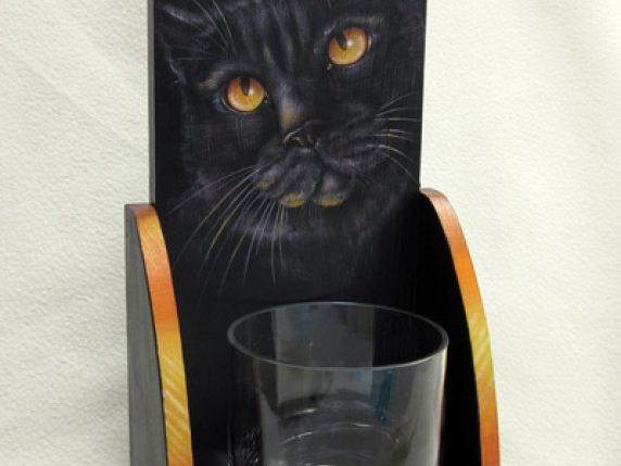Black cat with yellow eyes painted by Laure Paillex