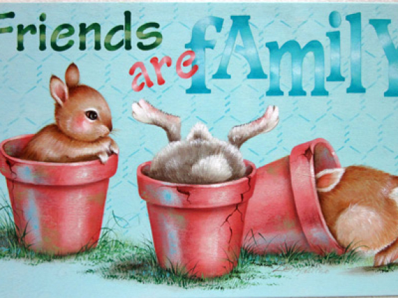 Pots and Bunnies sign board painting packet #516 by Lauré Paillex