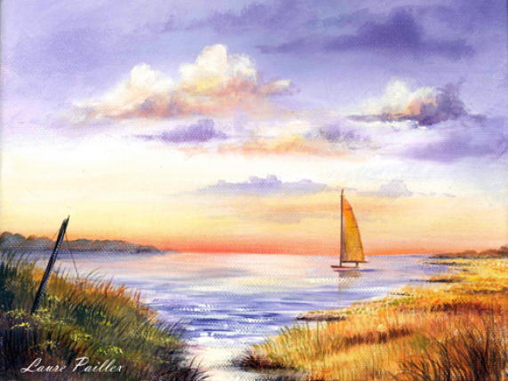 Evening Sail Acrylic Painting Pattern Packet by Laure Paillex