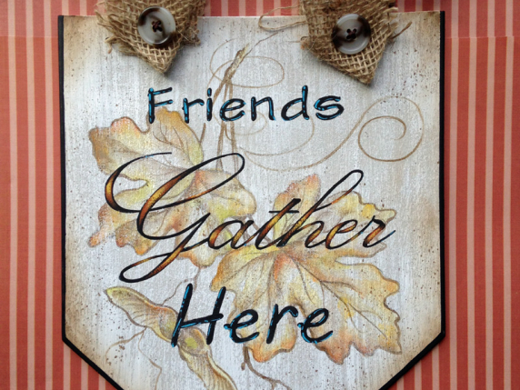 Friends Gather Here Fall Leaves Banner by Laure Paillex