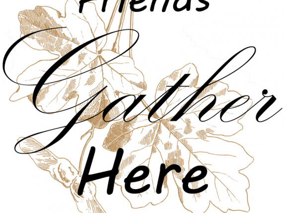 Friends Gather Here Banner Drawing by Laure Paillex