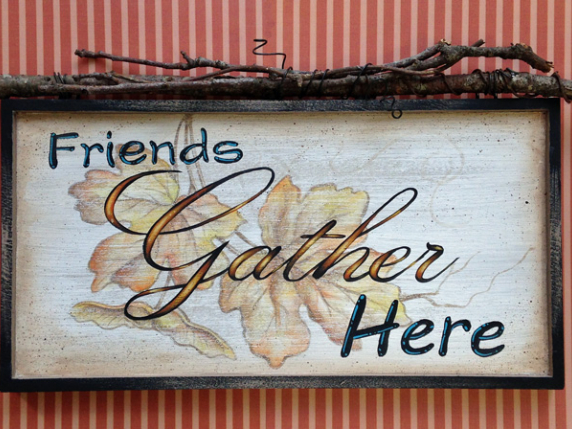 Friends Gather Here fall leaves sign by Laure Paillex