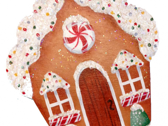 Christmas Cutout Wood Ornament House from Pattern Pkt #545 by Lauré Paillex