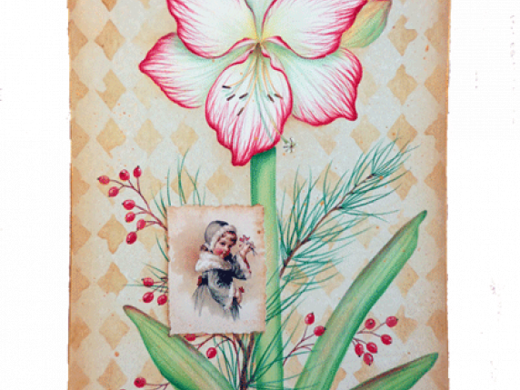 Amaryllis mixed media acrylic painting packet by Lauré Paillex