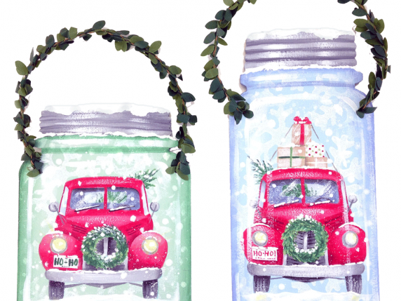 Red Truck with green wreath wood ornament by Laure Paillex 2018