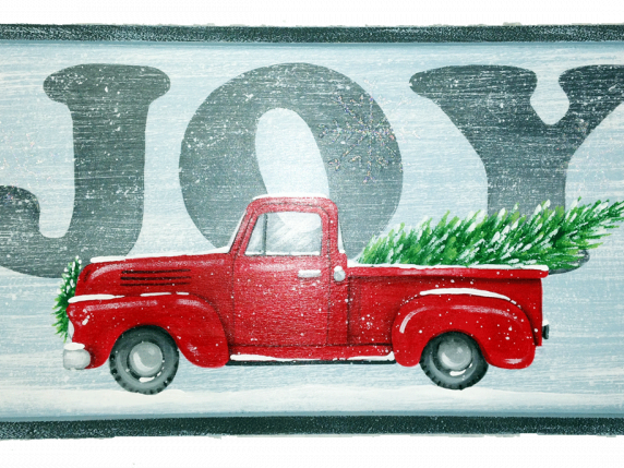 Red truck with tree brings joy - painting by Laure Paillex