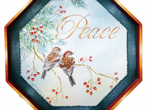 Two little sparrows perch on snow covered branches Painting by Laure Paillex