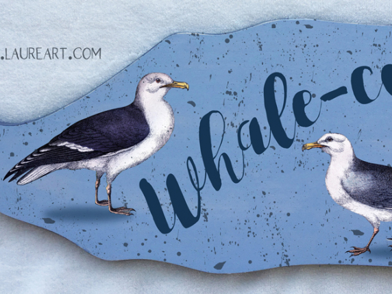"""Whalecome"" Whale Painted Signboard pattern packet by Laure Paillex"