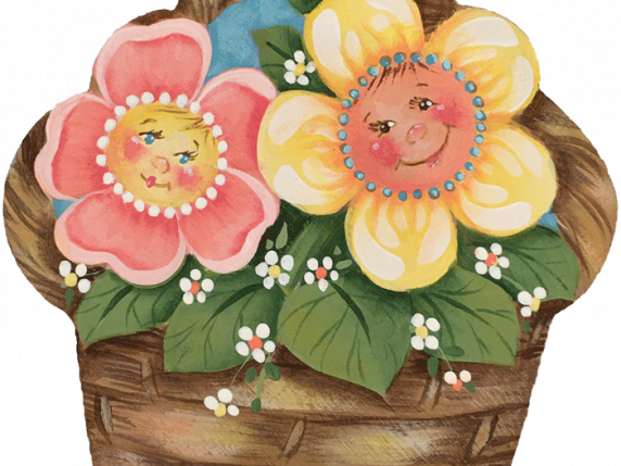Friendship Basket painted wood cutout by Laure Paillex