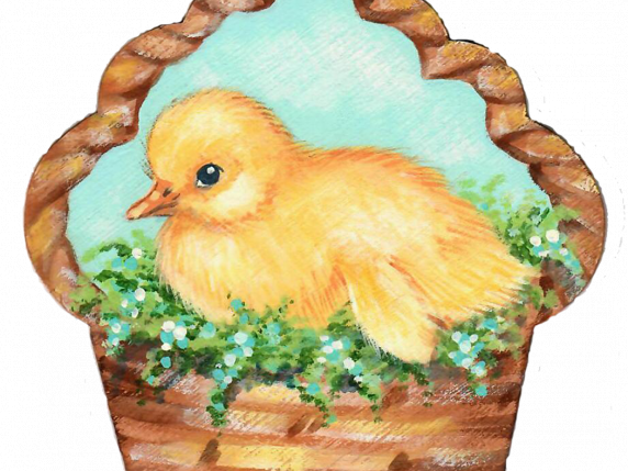 Chick in a Basket Wood Cutout Pattern Packet by Laure Paillex