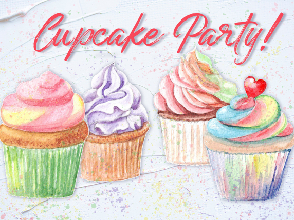 cupcake illustrations painted in watercolor