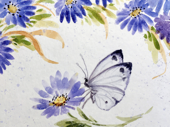 Autumn Asters Free Online Watercolor Tutorial with Laure Paillex