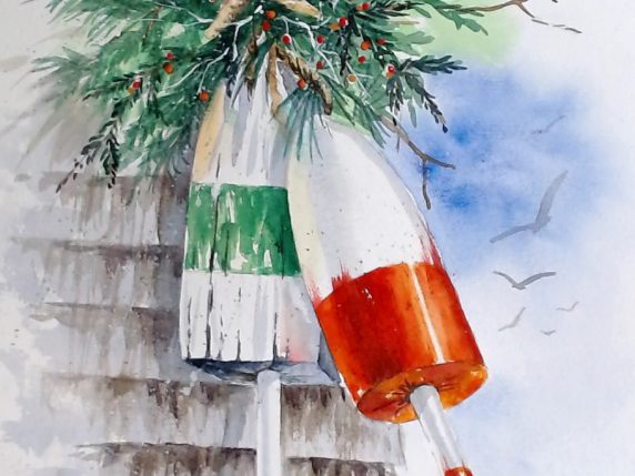 Holiday Buoys Watercolor E-Packet by Laure Paillex