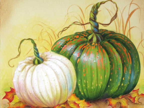 Pumpkins painted in acrylics on wood sign board