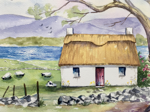 Spring Cottage Watercolor Painting E-packet tutorial by Laure Paillex