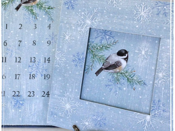 Watch and Wait painted chickadee bird on branch with snow - advent calendar
