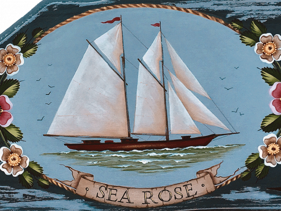 The Schooner, Sea Rose acrylic painting pattern by Laure Paillex