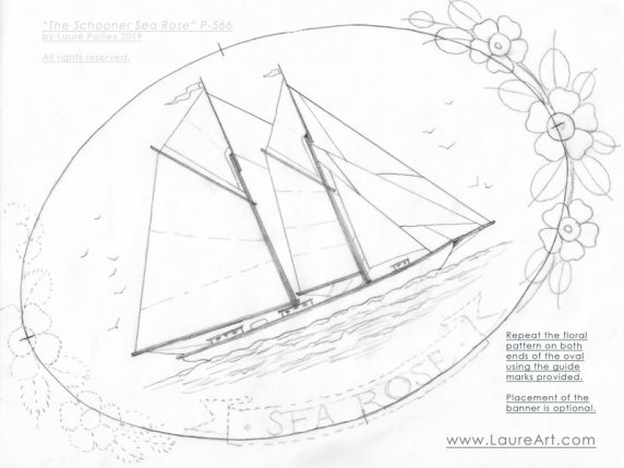 "The Schooner ""Sea Rose"" acrylic painting pattern by Laure Paillex"