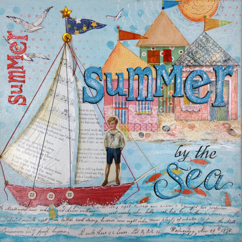 Summer by the Sea - Mixed Media Painting by Laure Paillex c.2015