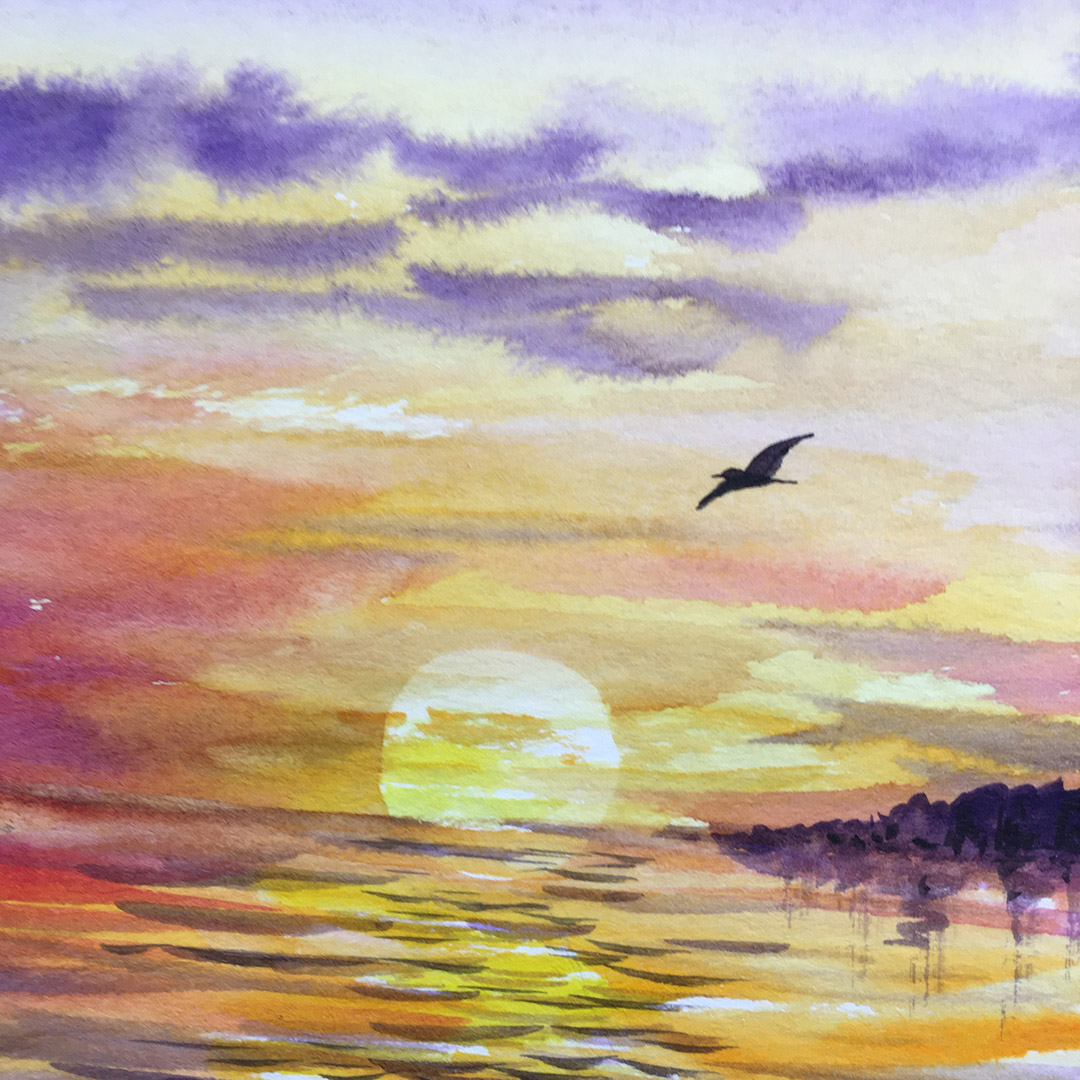 """Sunset Seas"" Online Watercolor Class with Laure Paillex"