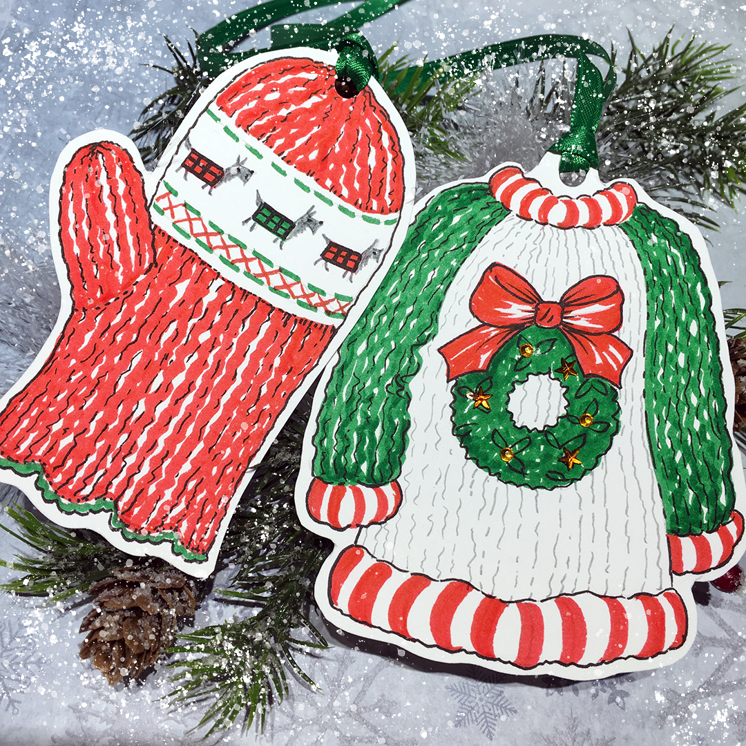 Christmas knits gift tags using marker pens