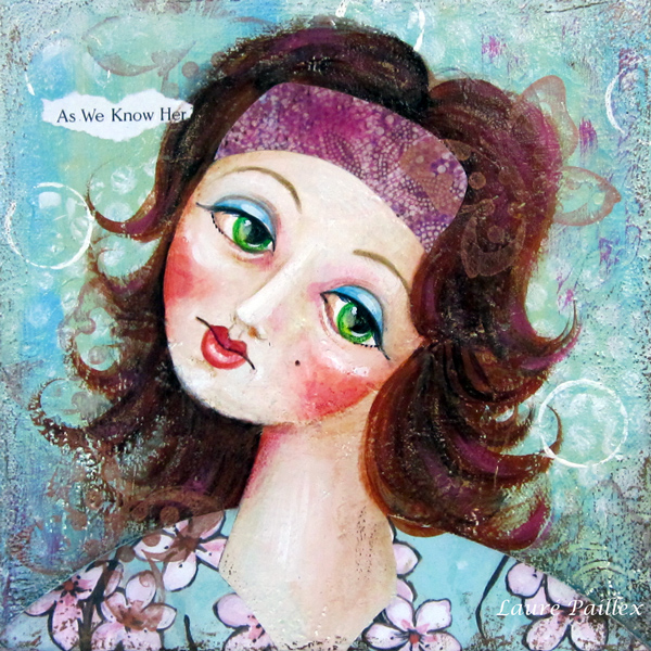 Mixed-media portrait of a girl by Laure Paillex