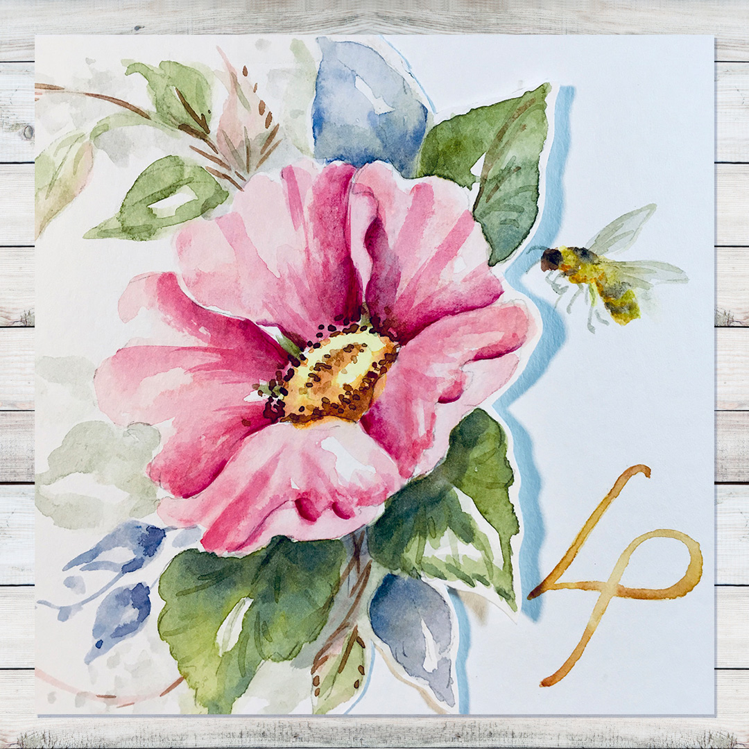 The Last Rose of Summer Watercolor by Laure Paillex